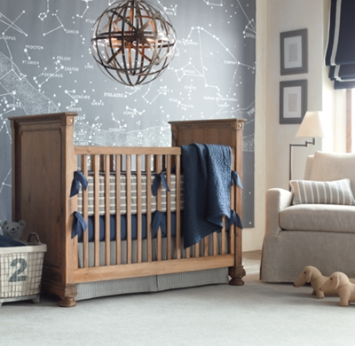 Shown In Navy Featured With Vintage Washed Percale Crib Ed Sheet Heirloom Quilted Voile Toddler Quilt And Sham Ticking