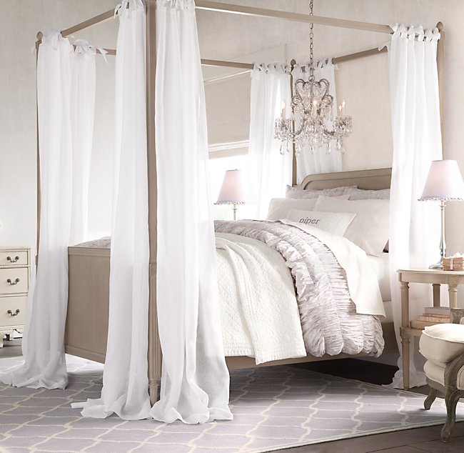 Sheer Belgian Linen Bed Canopy Panels