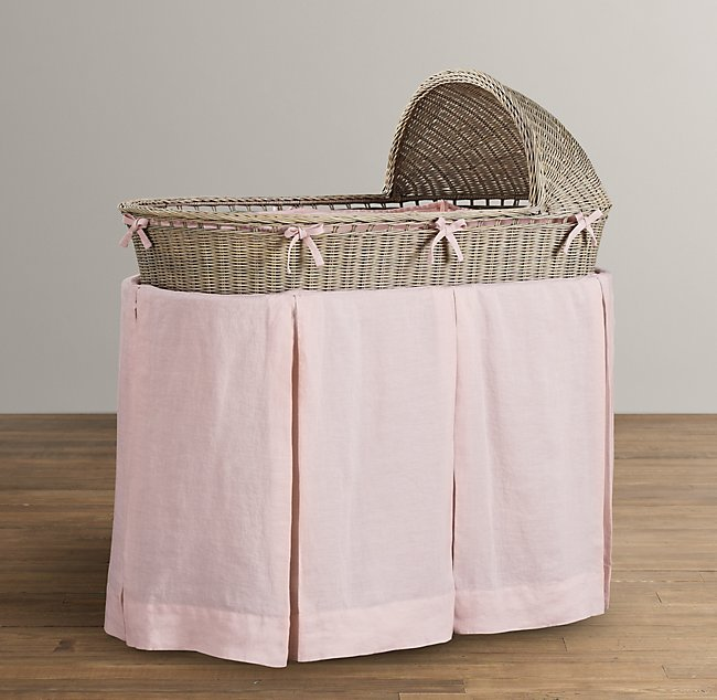 washed organic linen bassinet bedding - Bassinet Bedding