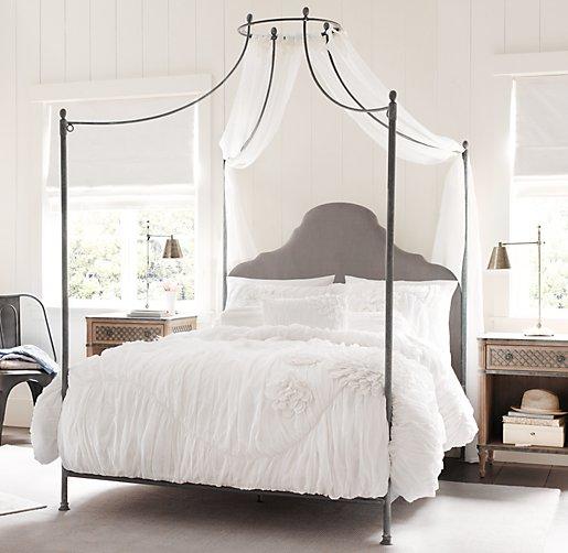 Allegra Iron Canopy Bed Fog Vintage Velvet