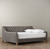 Devyn Tufted Velvet Daybed with weathered oak leg