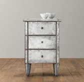 Ava Mirrored 3-Drawer Nightstand