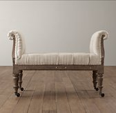 Deconstructed Tufted Roll-Arm Bench