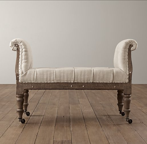 Deconstructed Tufted Roll Arm Bench