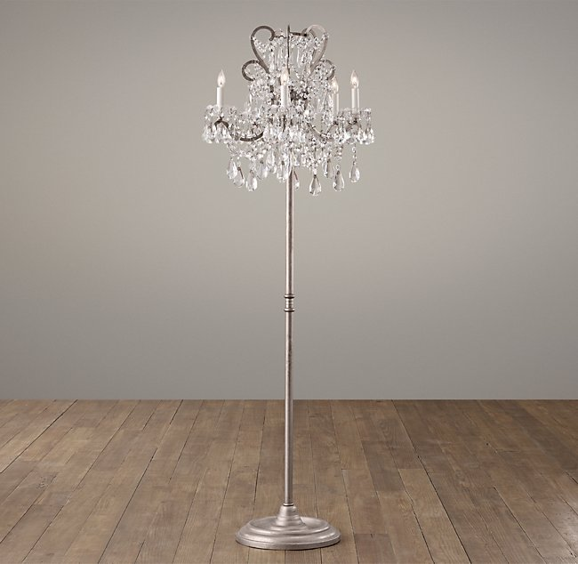 Manor court crystal 5 arm floor lamp aged pewter aloadofball Images