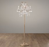 Manor Court Crystal 5-Arm Floor Lamp - Aged Gold