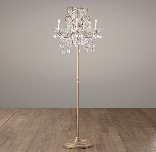 Manor court crystal 5 arm floor lamp aged gold aloadofball Images
