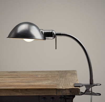 typesetter 39 s task clip lamp dark steel. Black Bedroom Furniture Sets. Home Design Ideas
