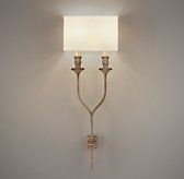 Antiqued Wishbone Sconce with Shade - Antique Warm Silver