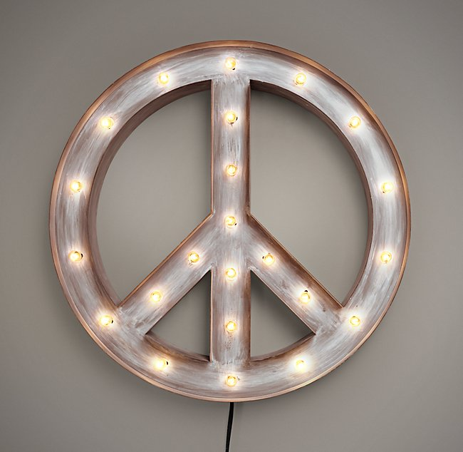 Illuminated Peace Sign - Weathered Metal