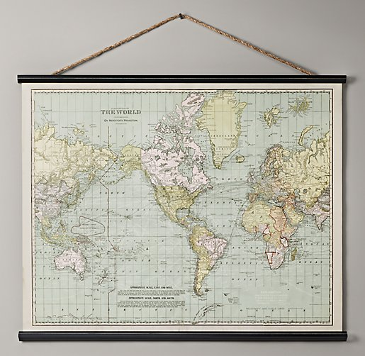 Black And White World Map Rug: Vintage World Map Tapestry