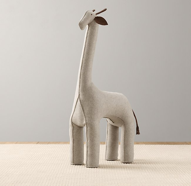 Oversized Wool Felt Giraffe Grey
