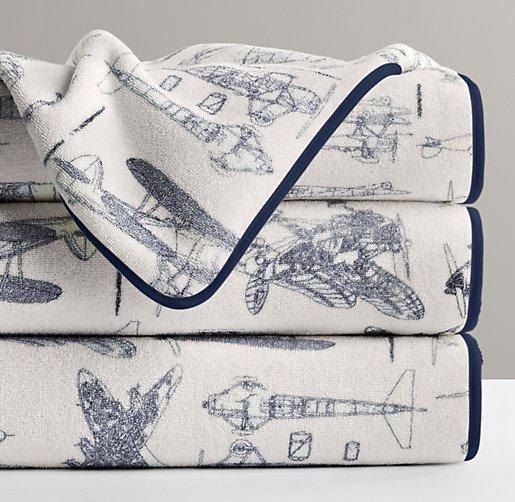 Vintage Airplane Turkish Bath Towel