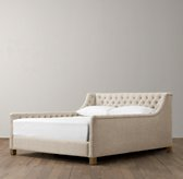 Devyn Tufted Upholstered Bed with weathered oak leg
