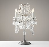 Manor Court Crystal Table Lamp - Aged Pewter