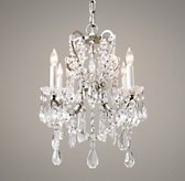 Manor Court Crystal 4-Arm Chandelier Aged Pewter