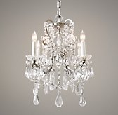 Manor Court Crystal 4-Arm Chandelier - Aged Pewter