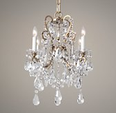 Manor Court Crystal 4-Arm Chandelier - Aged Gold
