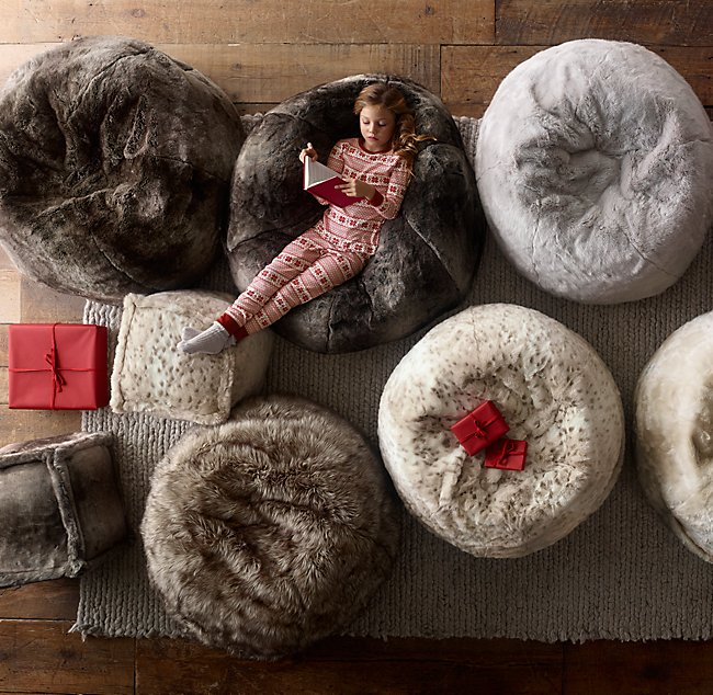 Swell Luxe Faux Fur Bean Bag Wolf Squirreltailoven Fun Painted Chair Ideas Images Squirreltailovenorg