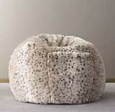 Luxe Faux Fur Bean Bag - Snow Leopard