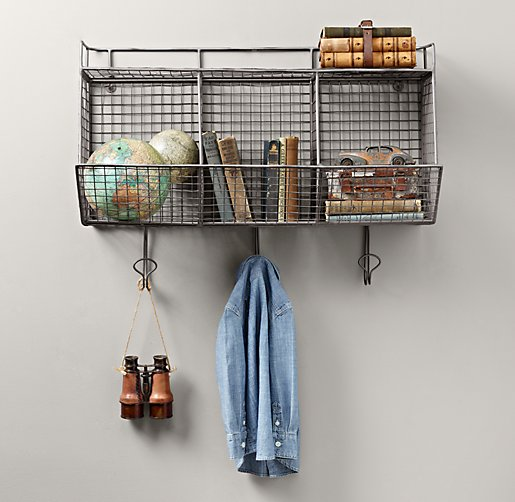 Industrial Wire 3 Bin Shelf Zinc