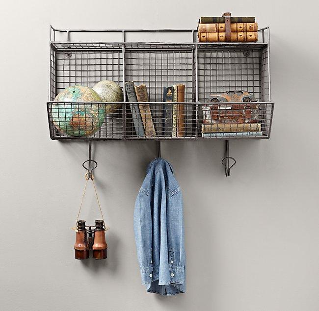 Industrial Wire 3-Bin Shelf - Zinc