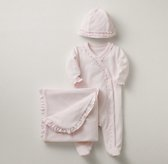 Ruffled Velour 3-Piece Infant Set - Petal