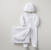Ruffled Velour 3-Piece Infant Set - White