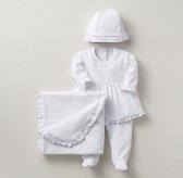 Ruffled Velour 4-Piece Infant Set - White
