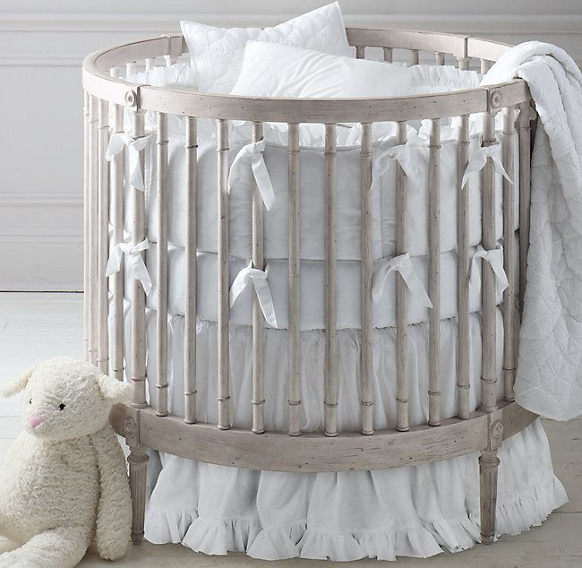 Frayed Ruffle Round Nursery Bedding Collection