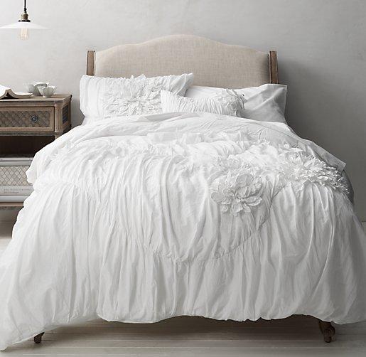 washed appliqud fleur vintage washed percale bedding collection - Vintage Bedding