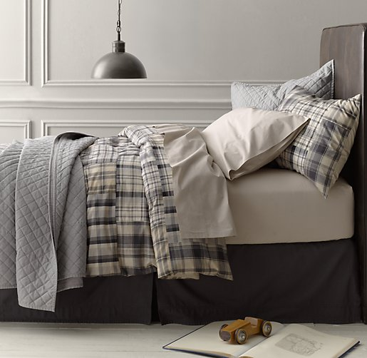 Gray Palladium Quilt Set : Washed patchwork plaid vintage percale bedding