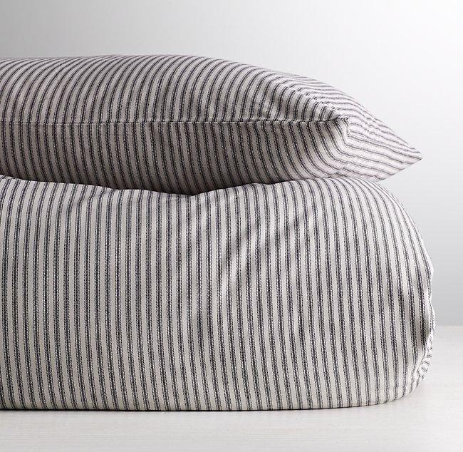 Garment Dyed Ticking Stripe Duvet Cover, Black Ticking Stripe Bedding