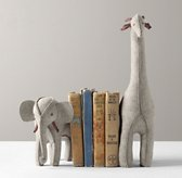 Wool Felt Animal Bookend - Grey Elephant & Giraffe