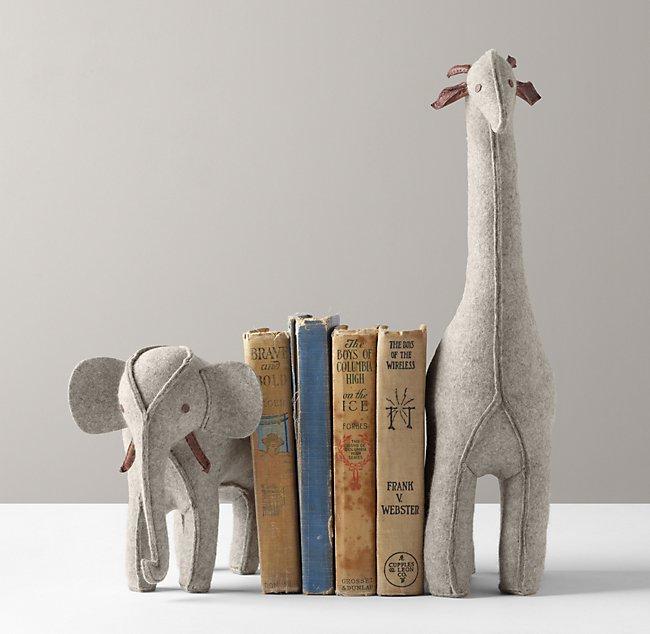 Wool Felt Animal Bookends - Grey Elephant & Giraffe
