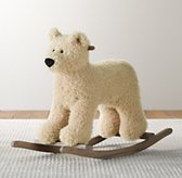 Shaggy Plush Animal Rocker - Bear