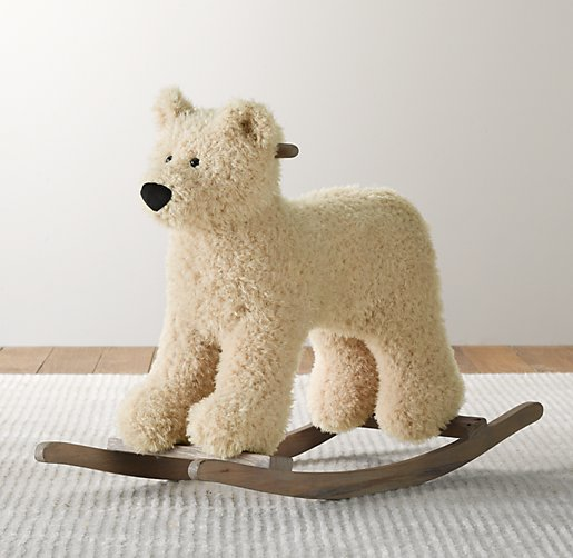 Shaggy Plush Animal Rocker Bear