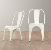 Vintage Steel Play Chair Set of 2 - Distressed White
