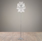 Manor Court Crystal 4-Arm Floor Lamp - Aged Pewter
