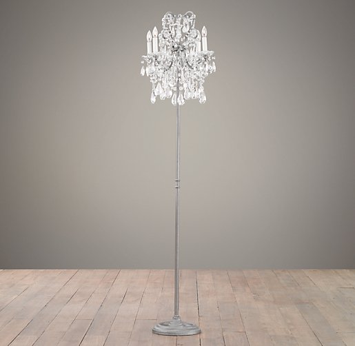 Manor court crystal 4 arm floor lamp aged pewter aloadofball Image collections