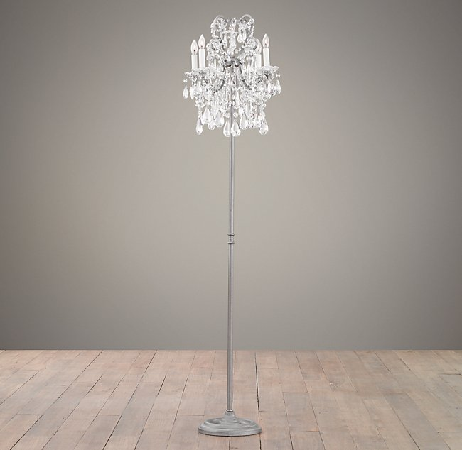 Court Crystal 4-Arm Floor Lamp - Aged Pewter