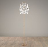 Manor Court Crystal 4-Arm Floor Lamp - Aged Gold