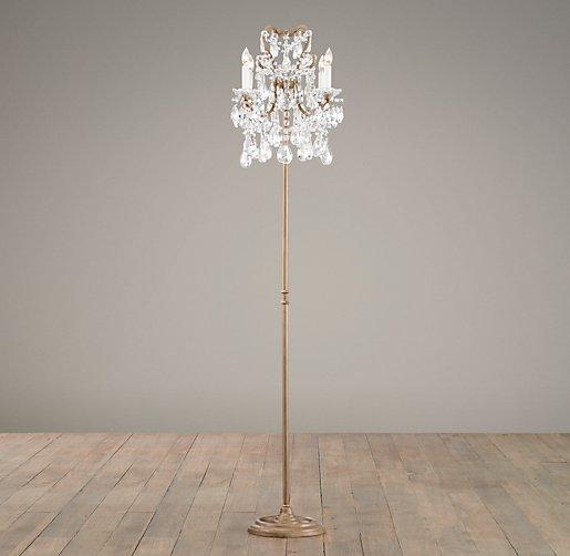 manor court crystal 4 arm floor lamp aged gold. Black Bedroom Furniture Sets. Home Design Ideas