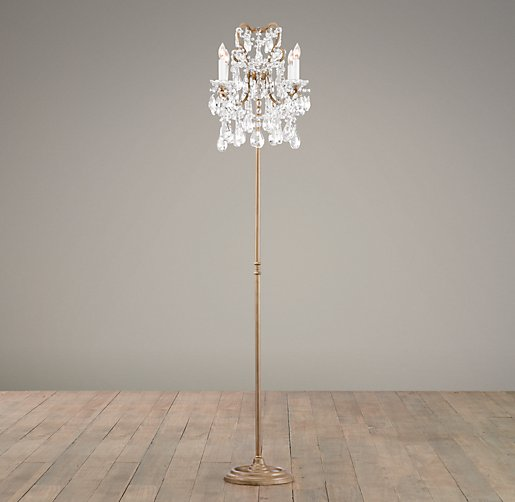 Manor court crystal 4 arm floor lamp aged gold for Floor lamp babies r us