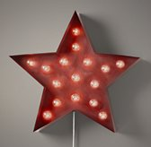 Vintage Illuminated Star - Distressed Red