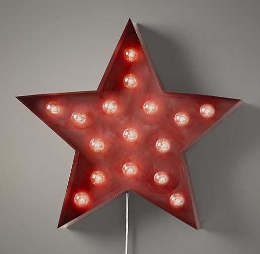Vintage Illuminated Star Distressed Red