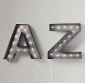 Vintage Illuminated Marquee Letter - Weathered Metal