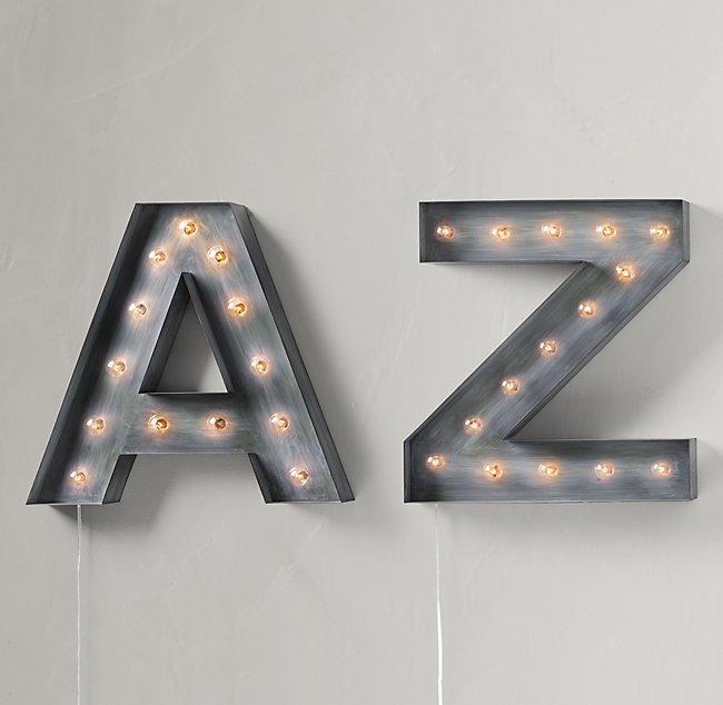 vintage illuminated marquee letter weathered metal