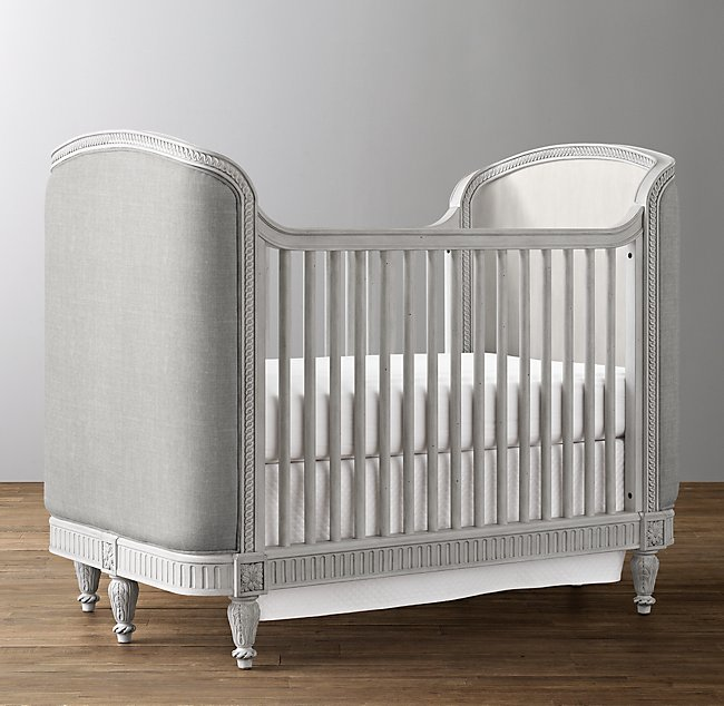 - Belle Upholstered Crib - Antique Grey Mist