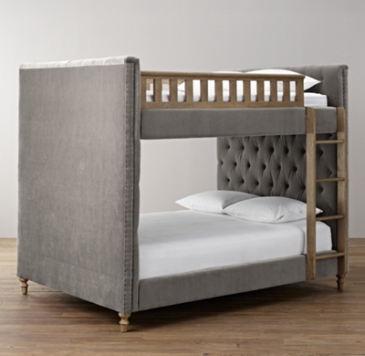 Chesterfield Tufted Velvet Full Over Full Bunk Bed